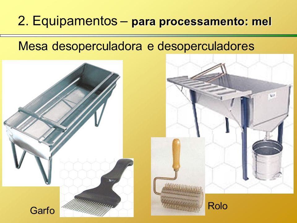 para processamento: mel 2. Equipamentos – para processamento: mel Mesa desoperculadora e desoperculadores Garfo Rolo