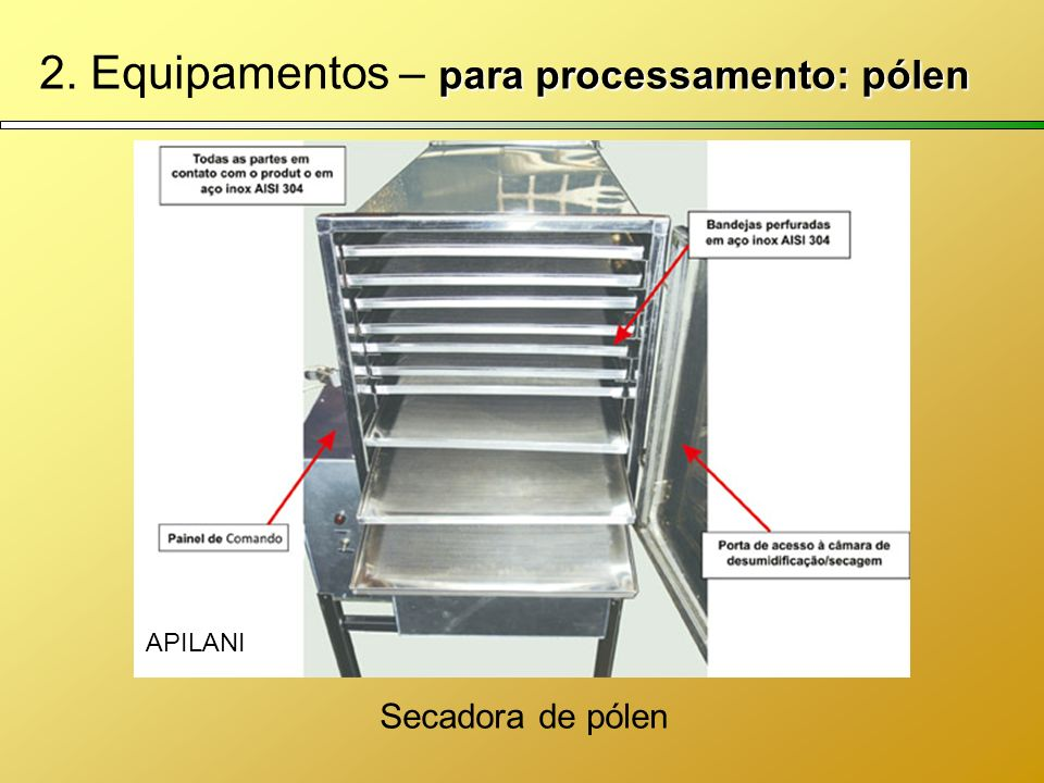 para processamento: pólen 2. Equipamentos – para processamento: pólen Secadora de pólen APILANI