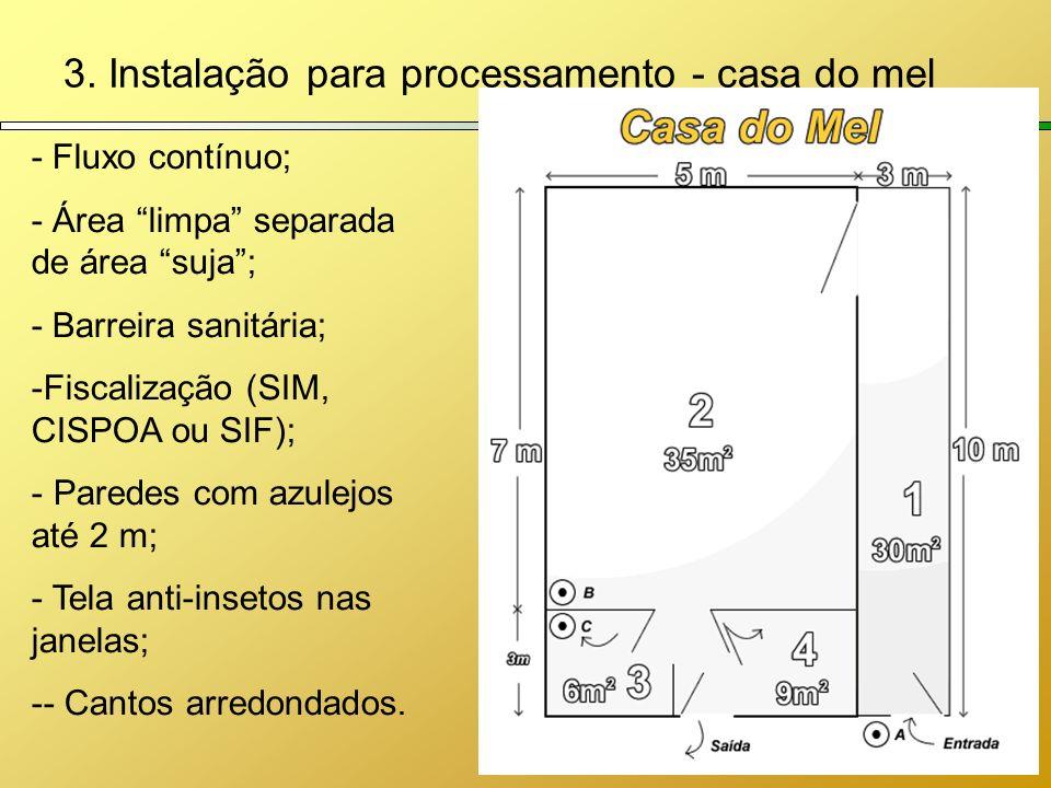 3. Instalação para processamento - casa do mel - Fluxo contínuo; - Área limpa separada de área suja; - Barreira sanitária; -Fiscalização (SIM, CISPOA