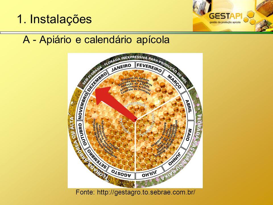 1. Instalações A - Apiário e calendário apícola Fonte: http://gestagro.to.sebrae.com.br/