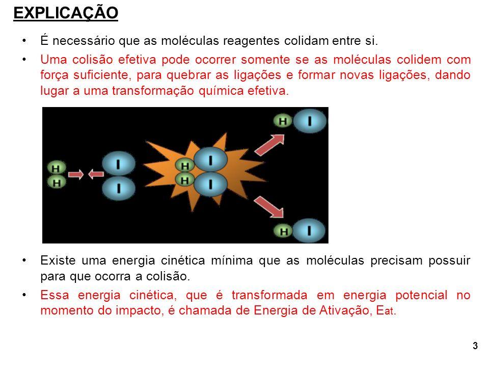 3 É necessário que as moléculas reagentes colidam entre si.