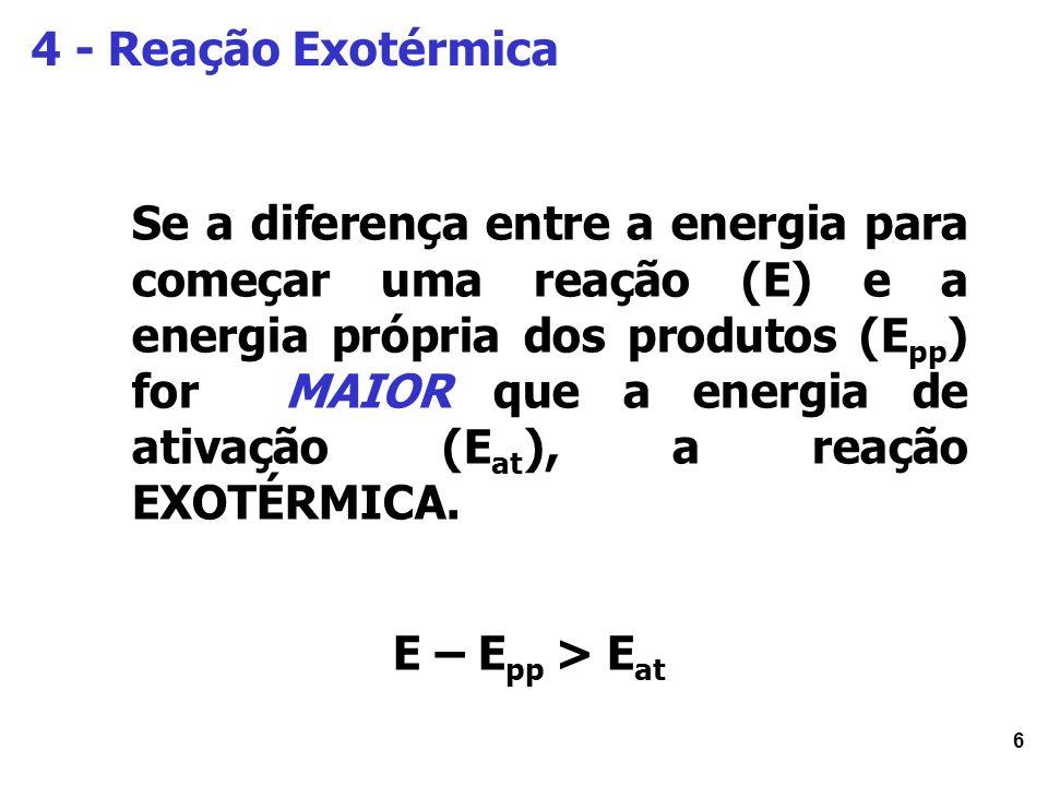 7 4.1 - Energia de Ativação e Reação Exotérmica: Qual a influencia na Velocidade.