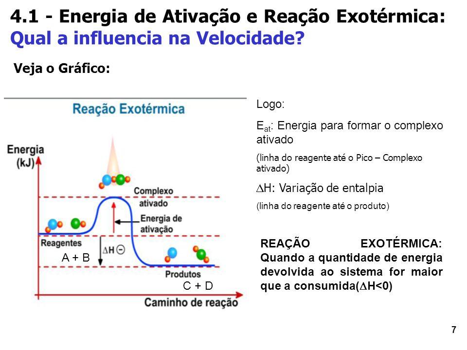 8 5 - Reação ENDOTÉRMICA 1.Se a diferença entre a energia para começar uma reação (E) e a energia própria dos produtos (E pp ) for MENOR que a energia de ativação (E at ), a reação ENDOTÉRMICA.