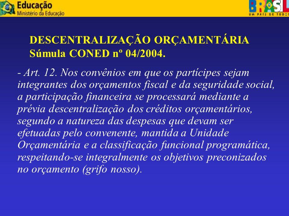 -Descentralização de recursos. Destaque. Art. 12 da IN nº 01/97. A descentralização de programas de trabalho e ação da administração direta para indir