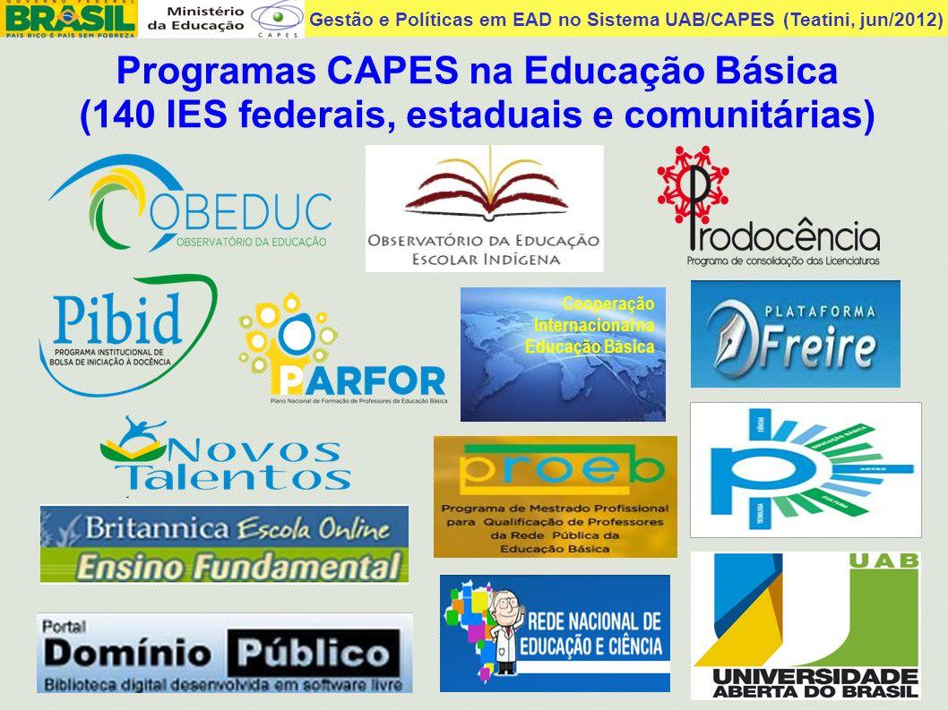 Gestão e Políticas em EAD no Sistema UAB/CAPES (Teatini, jun/2012) Programas CAPES na Educação Básica (140 IES federais, estaduais e comunitárias) Coo