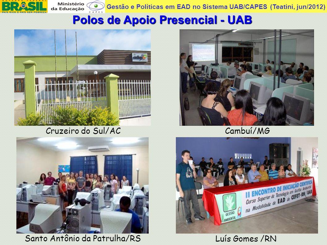 Gestão e Políticas em EAD no Sistema UAB/CAPES (Teatini, jun/2012) Cruzeiro do Sul/AC Polos de Apoio Presencial - UAB Luís Gomes /RN Santo Antônio da