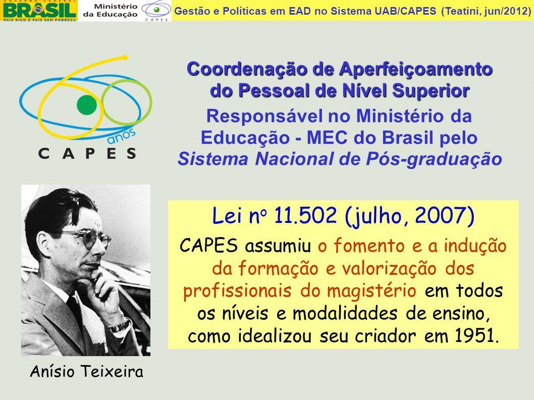 Gestão e Políticas em EAD no Sistema UAB/CAPES (Teatini, jun/2012) Lei n o 11.502 (julho, 2007) CAPES assumiu o fomento e a indução da formação e valo