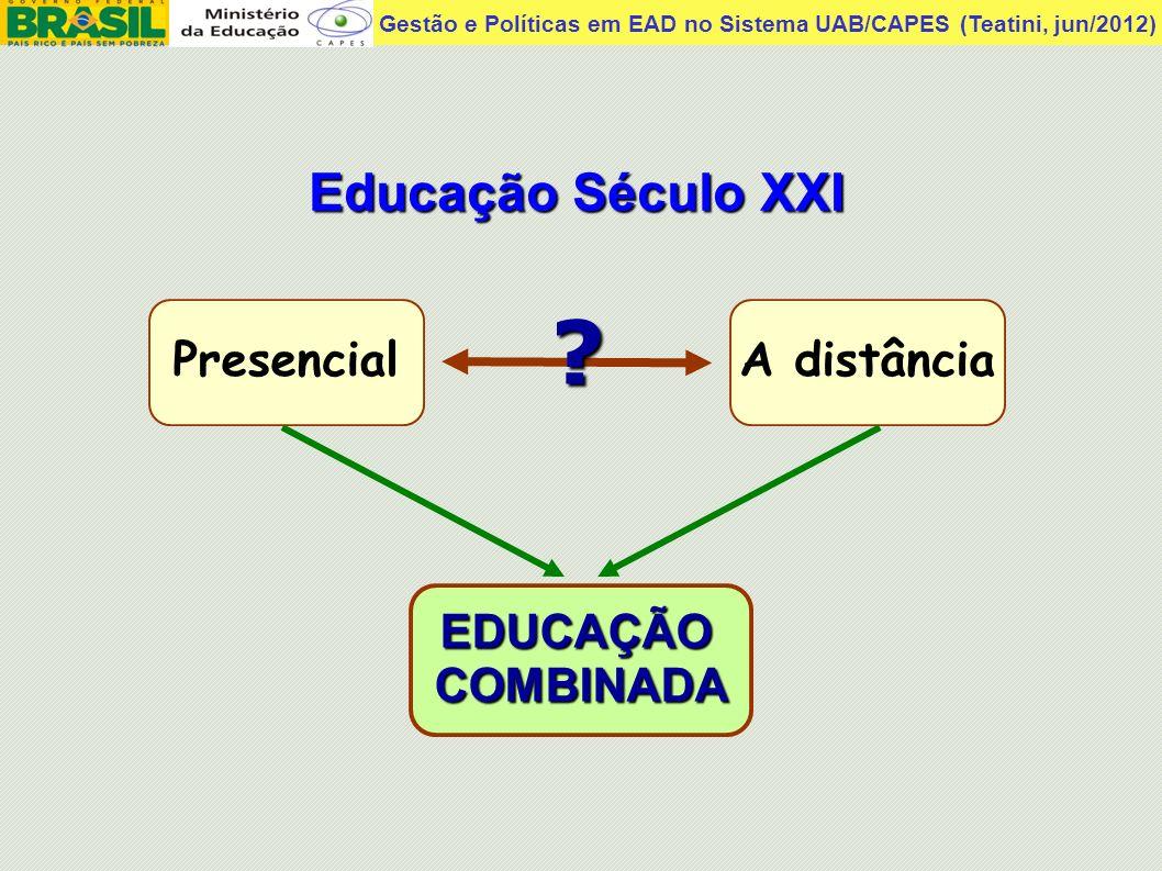 Gestão e Políticas em EAD no Sistema UAB/CAPES (Teatini, jun/2012) Educação Século XXI PresencialA distância EDUCAÇÃOCOMBINADA ?