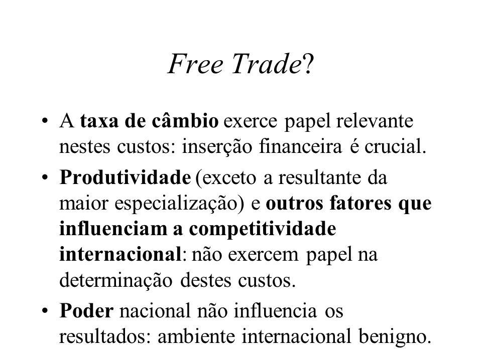 Free Trade? A taxa de câmbio exerce papel relevante nestes custos: inserção financeira é crucial. Produtividade (exceto a resultante da maior especial