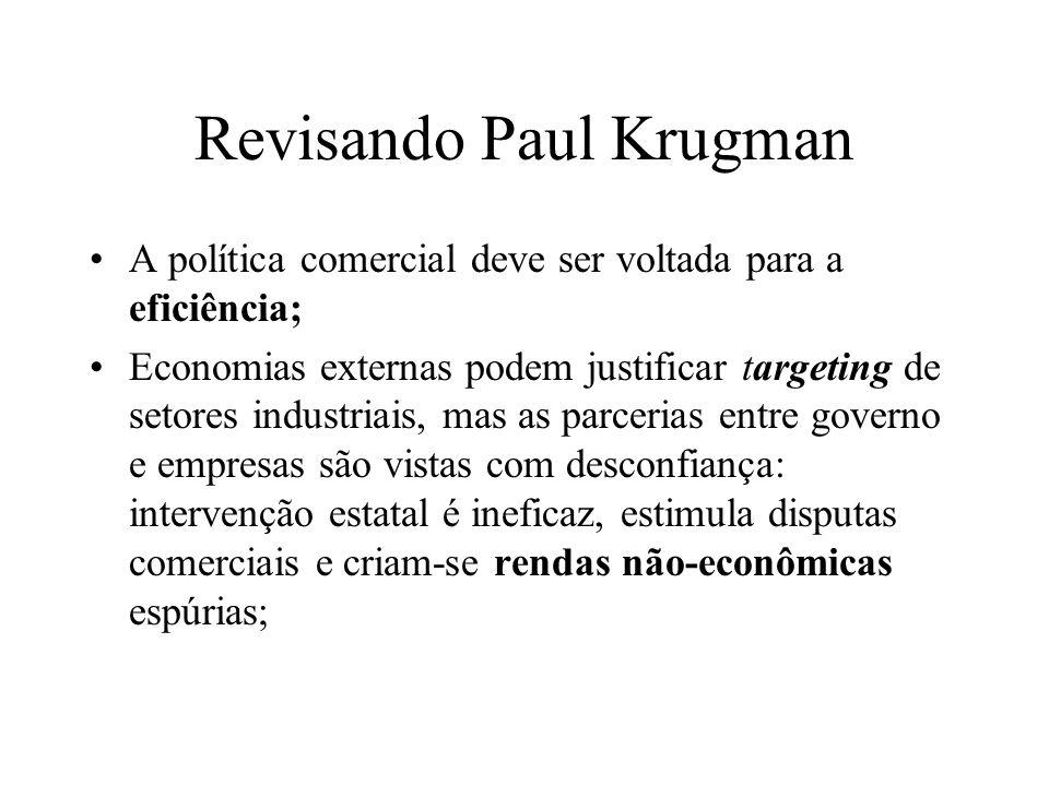 Revisando Paul Krugman A política comercial deve ser voltada para a eficiência; Economias externas podem justificar targeting de setores industriais,