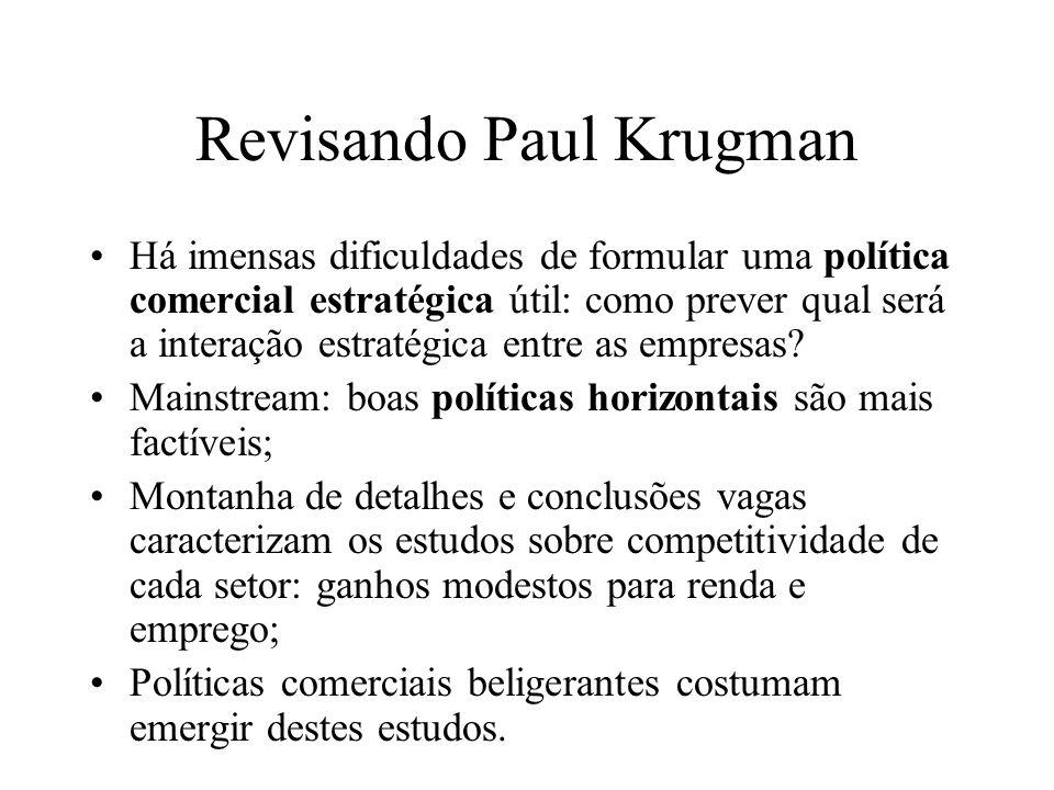 Revisando Paul Krugman Há imensas dificuldades de formular uma política comercial estratégica útil: como prever qual será a interação estratégica entr