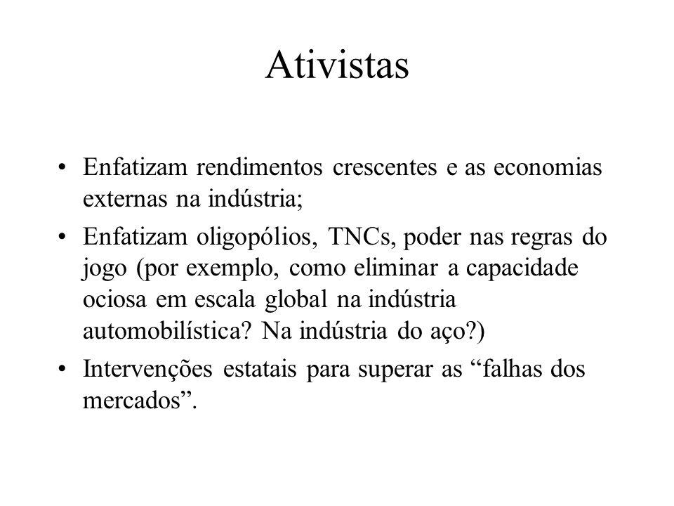 Ativistas Enfatizam rendimentos crescentes e as economias externas na indústria; Enfatizam oligopólios, TNCs, poder nas regras do jogo (por exemplo, c