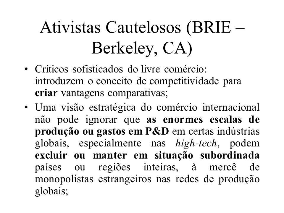 Ativistas Cautelosos (BRIE – Berkeley, CA) Críticos sofisticados do livre comércio: introduzem o conceito de competitividade para criar vantagens comp