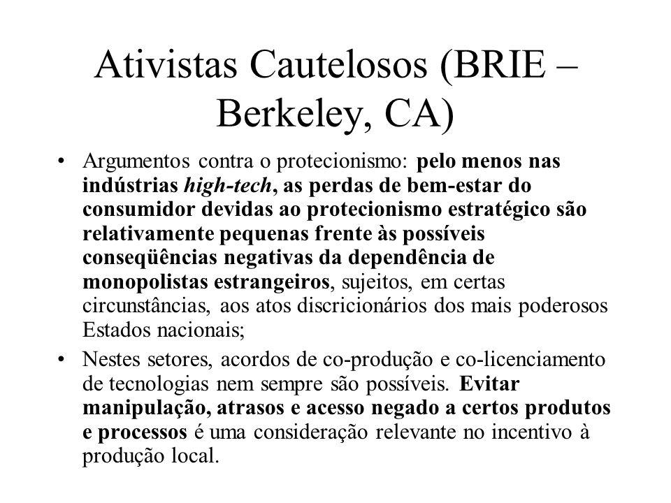 Ativistas Cautelosos (BRIE – Berkeley, CA) Argumentos contra o protecionismo: pelo menos nas indústrias high-tech, as perdas de bem-estar do consumido