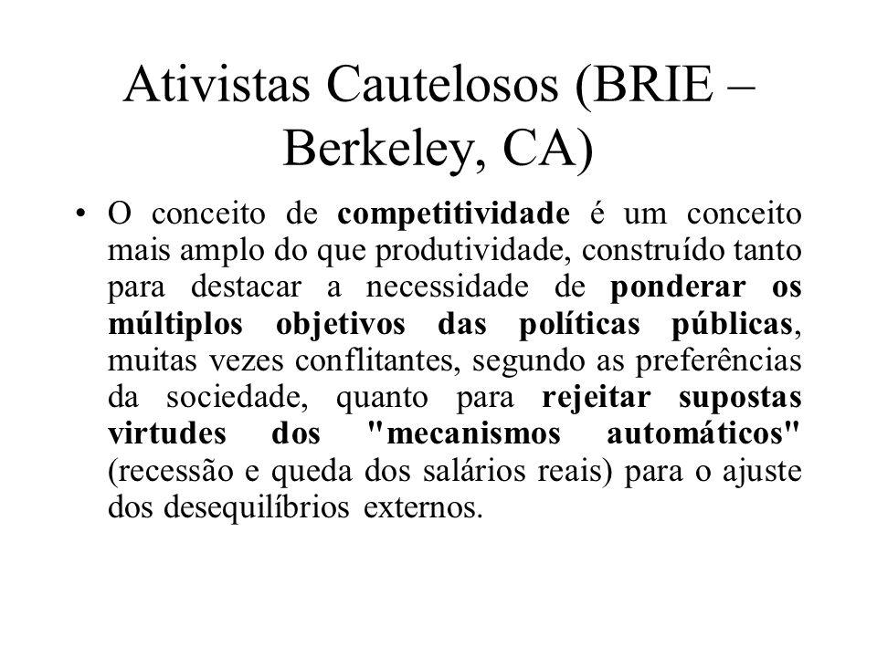 Ativistas Cautelosos (BRIE – Berkeley, CA) O conceito de competitividade é um conceito mais amplo do que produtividade, construído tanto para destacar