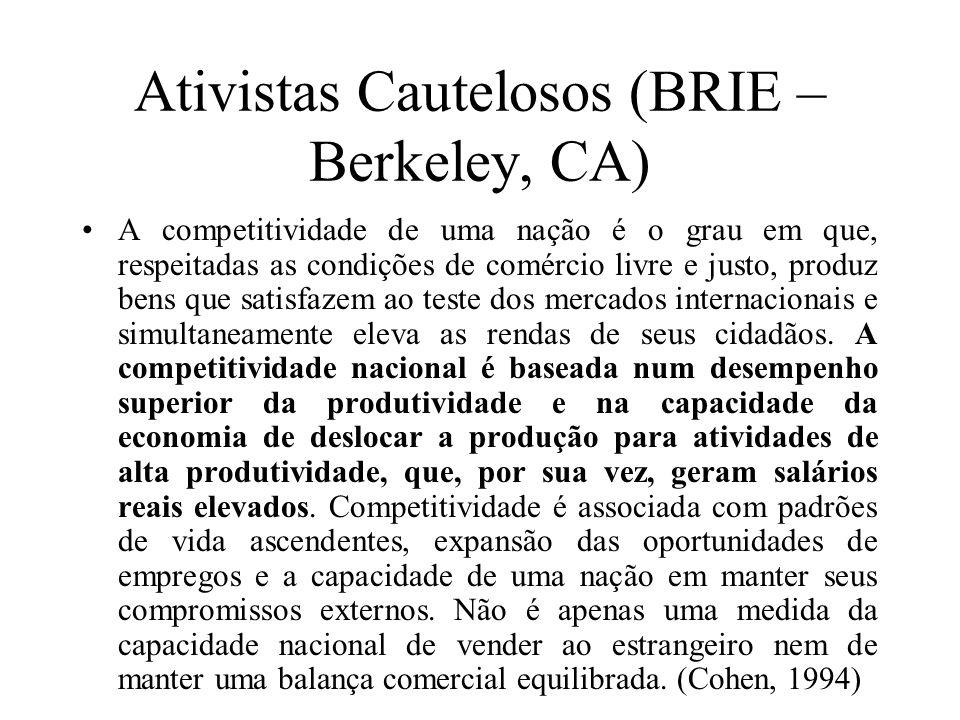 Ativistas Cautelosos (BRIE – Berkeley, CA) A competitividade de uma nação é o grau em que, respeitadas as condições de comércio livre e justo, produz
