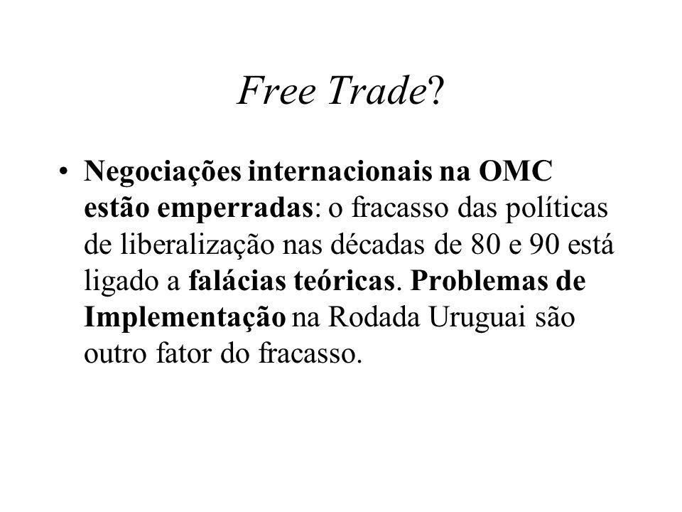 Free Trade? Negociações internacionais na OMC estão emperradas: o fracasso das políticas de liberalização nas décadas de 80 e 90 está ligado a falácia
