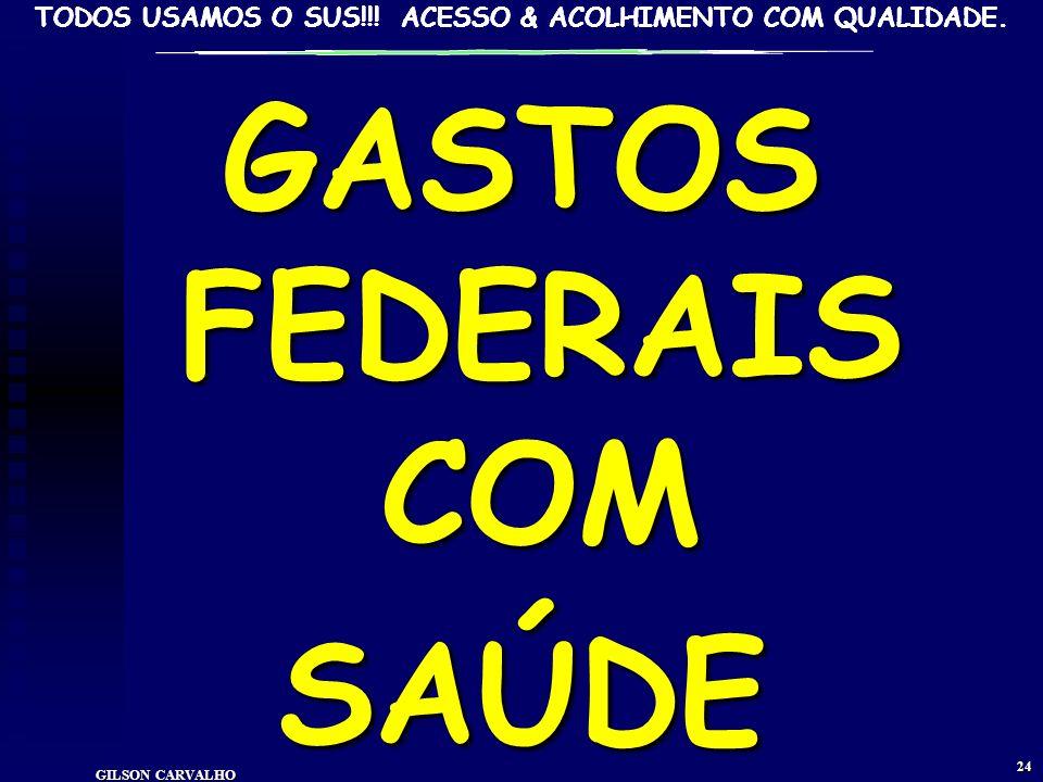 TODOS USAMOS O SUS!!! ACESSO & ACOLHIMENTO COM QUALIDADE. GILSON CARVALHO 23 RENÚNCIA FISCAL SAÚDE ESTIMA.2011 IRPF R$4.4 bi IRPJ R$2,9 bi TOTAL IR: 7