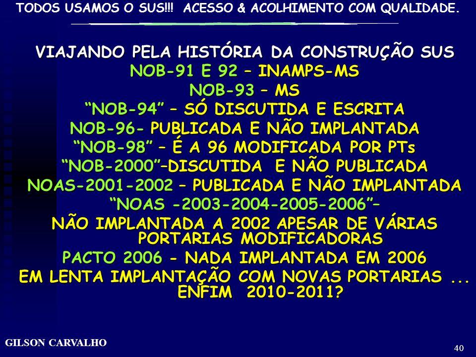 TODOS USAMOS O SUS!!! ACESSO & ACOLHIMENTO COM QUALIDADE. GILSON CARVALHO 39 A HISTÓRIA DOS PACTOS: DASNOBsPELASNOASAOPACTO-CONSENSO