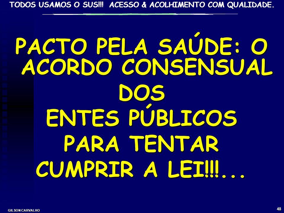 TODOS USAMOS O SUS!!! ACESSO & ACOLHIMENTO COM QUALIDADE. GILSON CARVALHO 47 PACTO PELA LEGALIDADE DO FINANCIAMENTO DO SUS: RESPONSABILIDADE DAS TRÊS