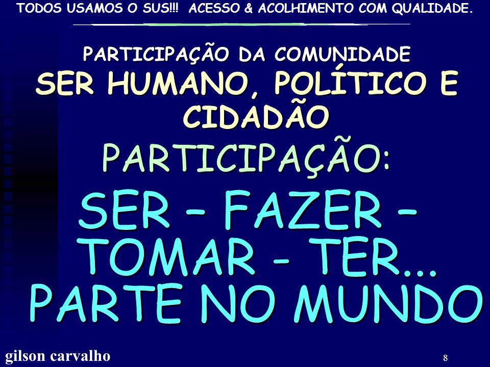 TODOS USAMOS O SUS!!! ACESSO & ACOLHIMENTO COM QUALIDADE. GILSON CARVALHO 38