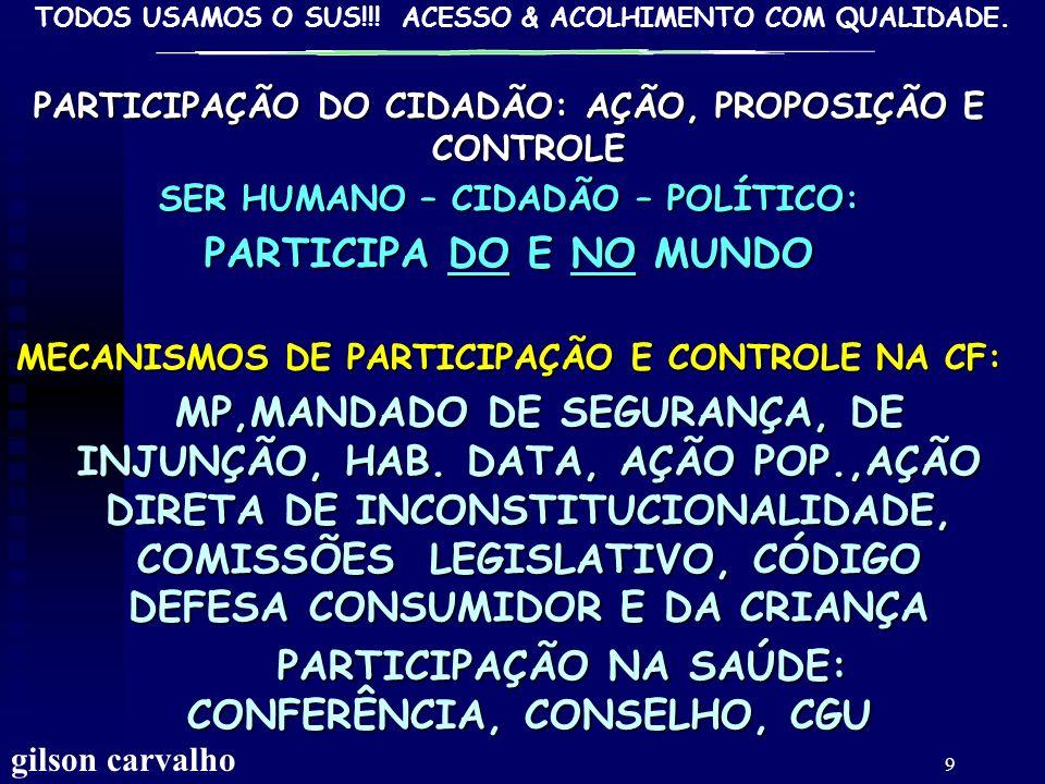 TODOS USAMOS O SUS!!! ACESSO & ACOLHIMENTO COM QUALIDADE. gilson carvalho 8 PARTICIPAÇÃO DA COMUNIDADE SER HUMANO, POLÍTICO E CIDADÃO PARTICIPAÇÃO: SE