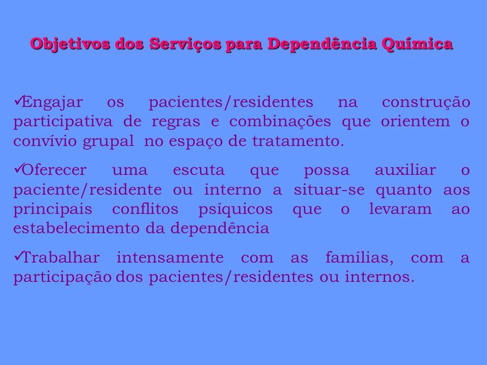 Objetivos dos Serviços para Dependência Química Engajar os pacientes/residentes na construção participativa de regras e combinações que orientem o con