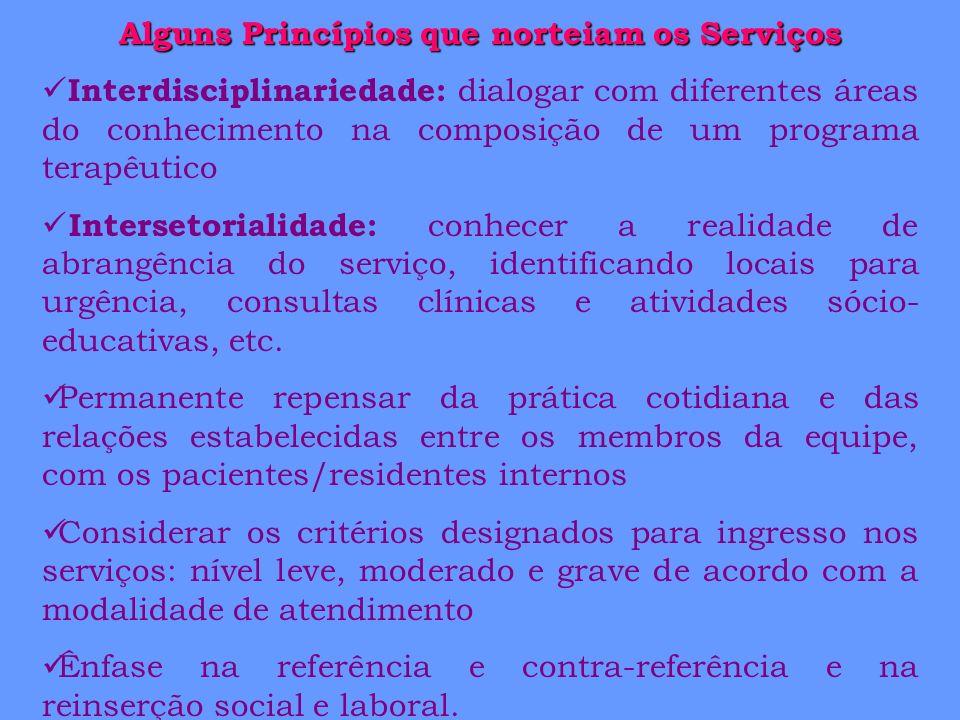 Alguns Princípios que norteiam os Serviços Interdisciplinariedade: dialogar com diferentes áreas do conhecimento na composição de um programa terapêut