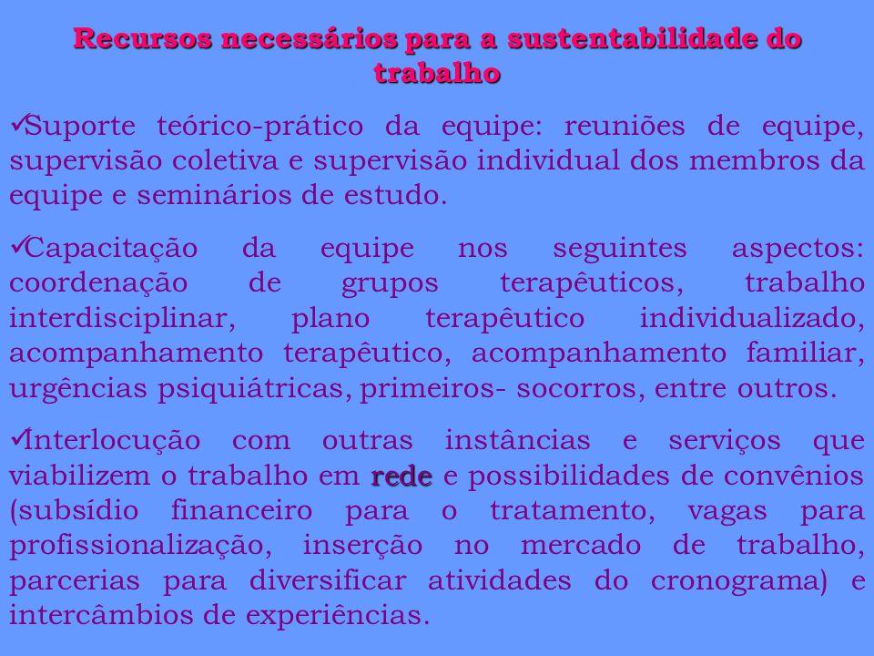 Recursos necessários para a sustentabilidade do trabalho Suporte teórico-prático da equipe: reuniões de equipe, supervisão coletiva e supervisão indiv