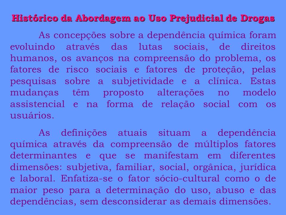Histórico da Abordagem ao Uso Prejudicial de Drogas As concepções sobre a dependência química foram evoluindo através das lutas sociais, de direitos h