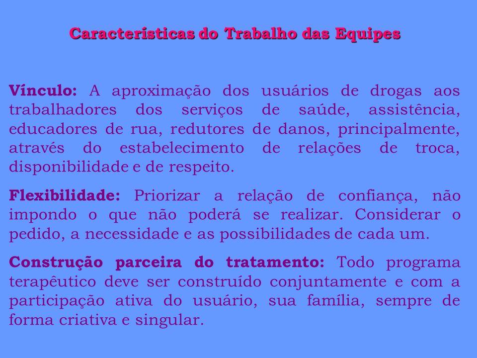 Características do Trabalho das Equipes Vínculo: A aproximação dos usuários de drogas aos trabalhadores dos serviços de saúde, assistência, educadores