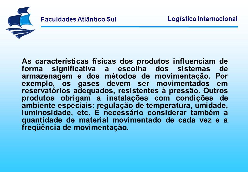 Faculdades Atlântico Sul Logística Internacional As características físicas dos produtos influenciam de forma significativa a escolha dos sistemas de