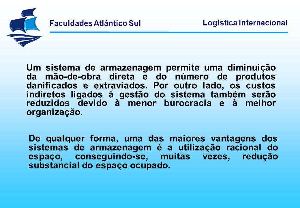 Faculdades Atlântico Sul Logística Internacional Um sistema de armazenagem permite uma diminuição da mão-de-obra direta e do número de produtos danifi