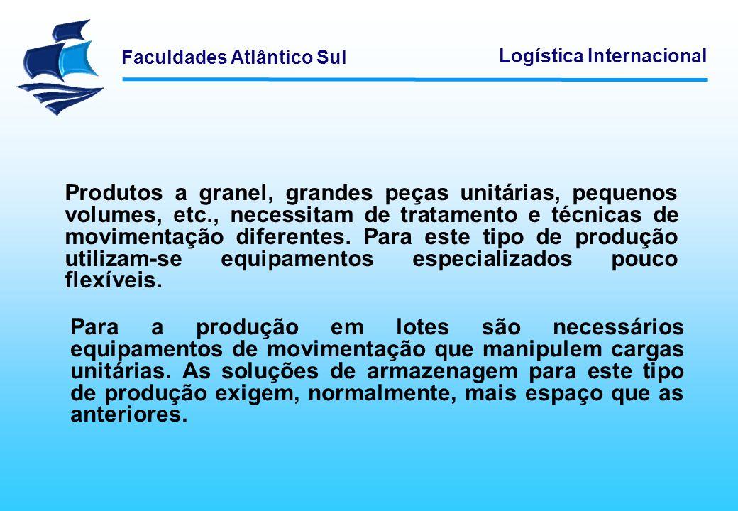 Faculdades Atlântico Sul Logística Internacional Produtos a granel, grandes peças unitárias, pequenos volumes, etc., necessitam de tratamento e técnic