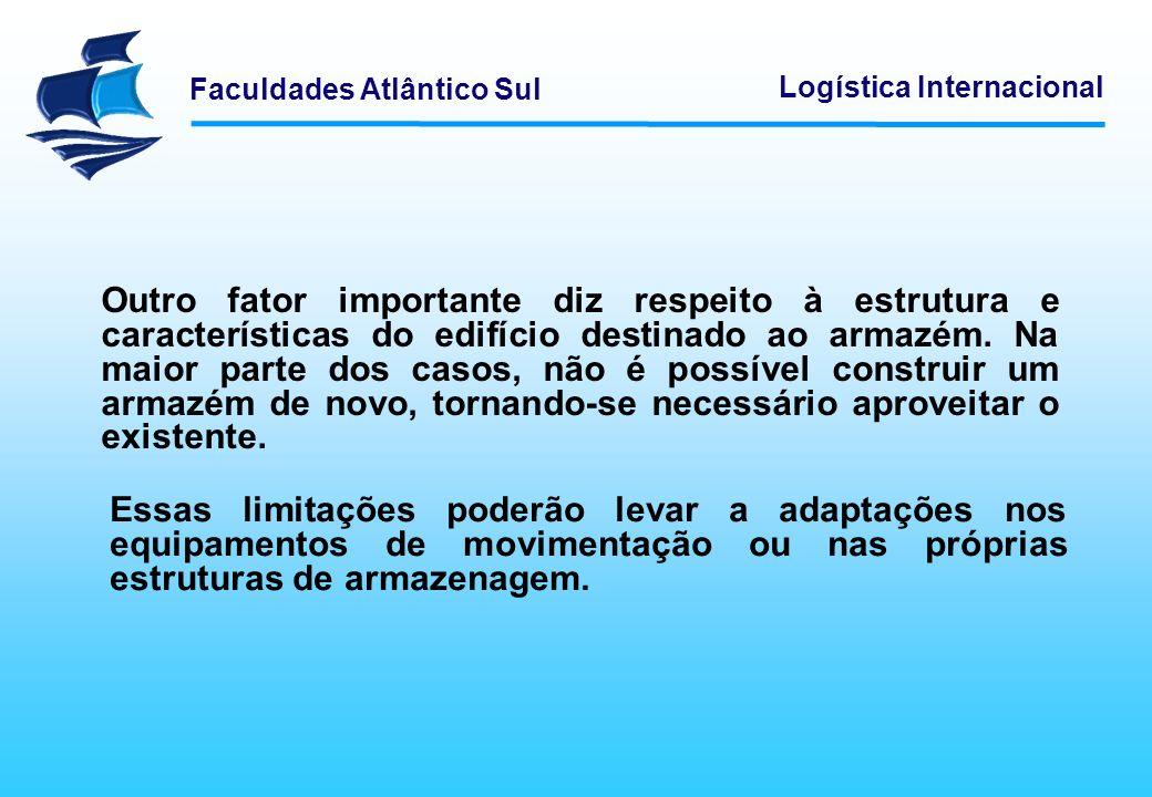 Faculdades Atlântico Sul Logística Internacional Carga unitária Um fator extremamente importante na armazenagem é o volume ou carga a movimentar e a armazenar.