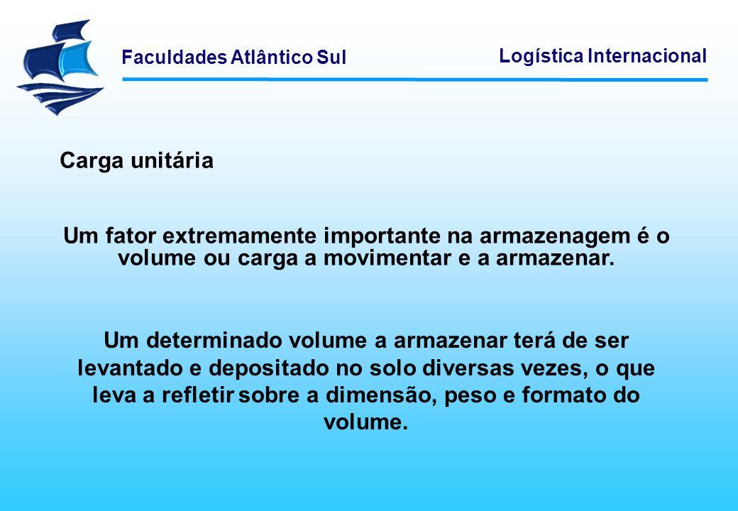 Faculdades Atlântico Sul Logística Internacional Carga unitária Um fator extremamente importante na armazenagem é o volume ou carga a movimentar e a a