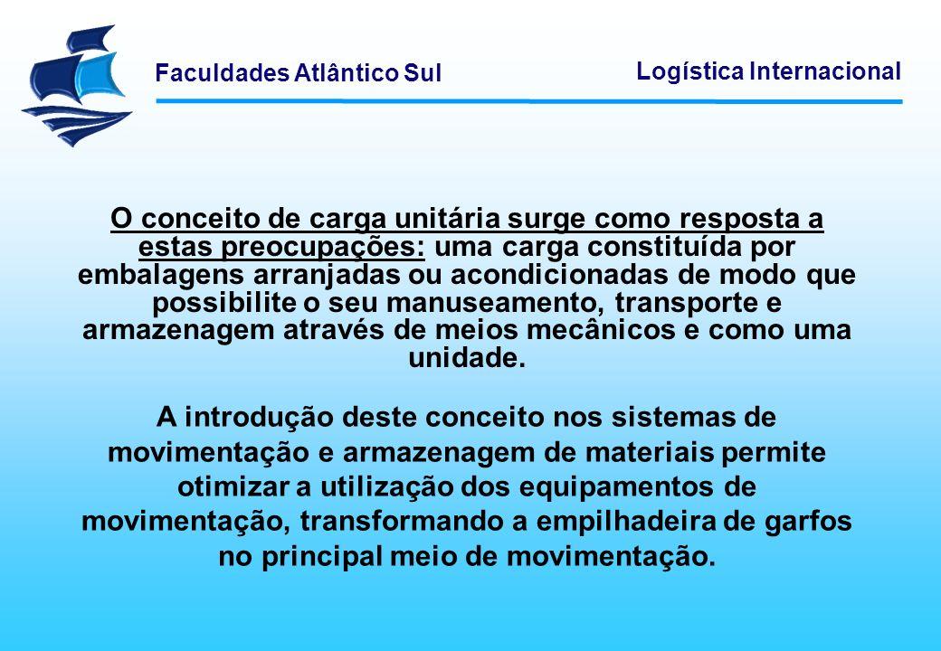 Faculdades Atlântico Sul Logística Internacional Existem diferentes dispositivos que permitem a formação da carga unitária, sendo o palete o mais amplamente utilizado.