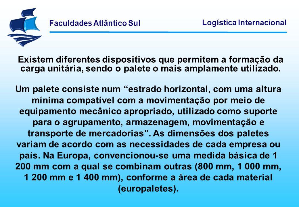 Faculdades Atlântico Sul Logística Internacional Existem diferentes dispositivos que permitem a formação da carga unitária, sendo o palete o mais ampl