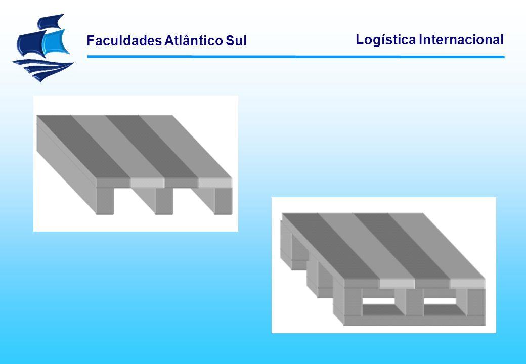 Faculdades Atlântico Sul Logística Internacional Além da seleção do tipo de palete, é necessário definir a forma de acondicionamento da mercadoria.
