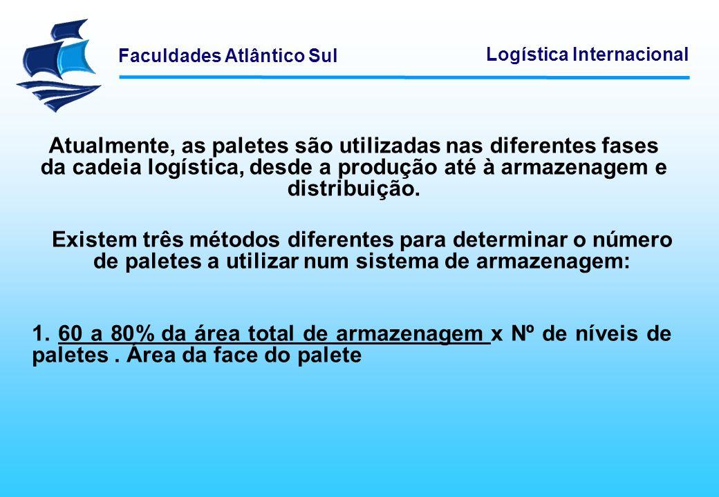 Faculdades Atlântico Sul Logística Internacional Atualmente, as paletes são utilizadas nas diferentes fases da cadeia logística, desde a produção até