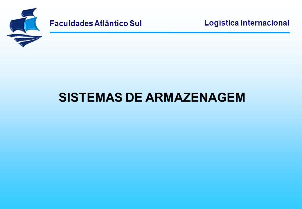Faculdades Atlântico Sul Logística Internacional A armazenagem é uma operação que não acrescenta valor ao produto final, mas aumenta-lhe o custo.