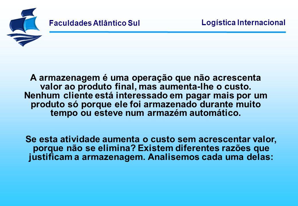 Faculdades Atlântico Sul Logística Internacional A armazenagem é uma operação que não acrescenta valor ao produto final, mas aumenta-lhe o custo. Nenh