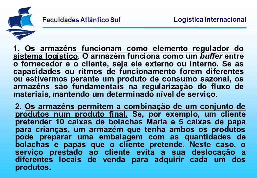 Faculdades Atlântico Sul Logística Internacional 1. Os armazéns funcionam como elemento regulador do sistema logístico. O armazém funciona como um buf