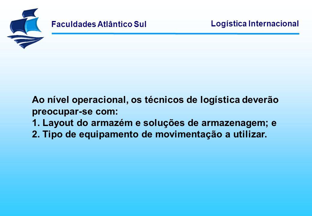 Faculdades Atlântico Sul Logística Internacional Ao nível operacional, os técnicos de logística deverão preocupar-se com: 1. Layout do armazém e soluç
