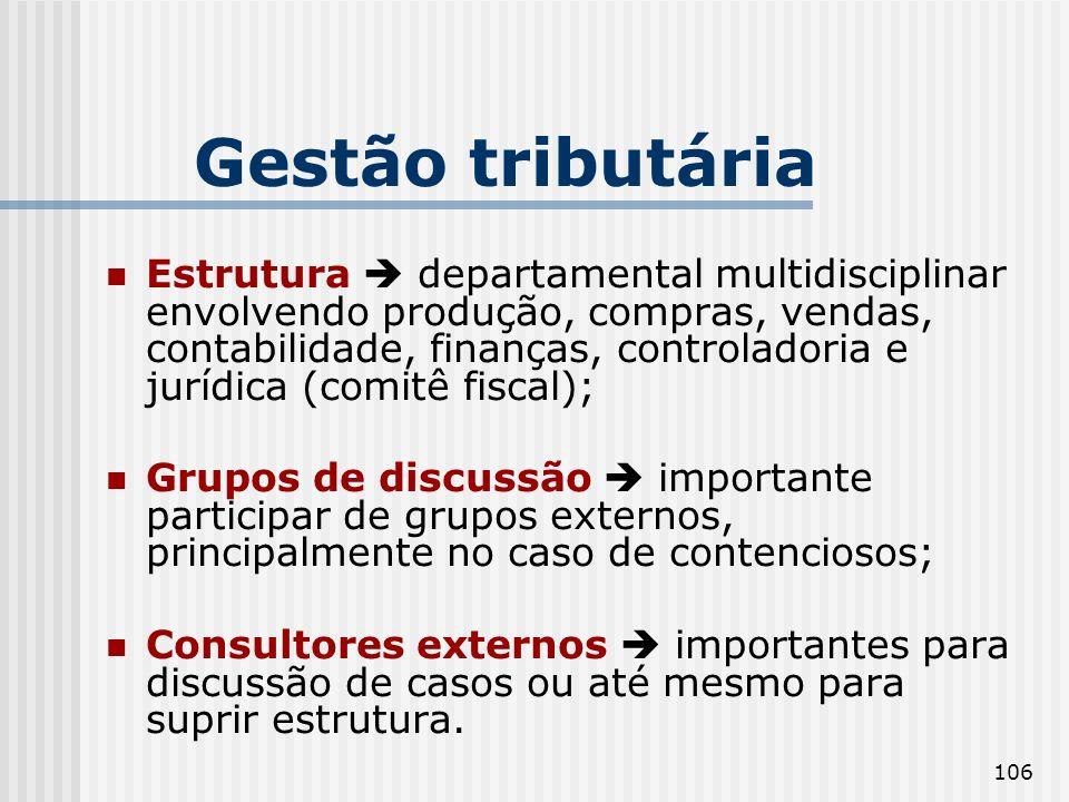 106 Gestão tributária Estrutura departamental multidisciplinar envolvendo produção, compras, vendas, contabilidade, finanças, controladoria e jurídica