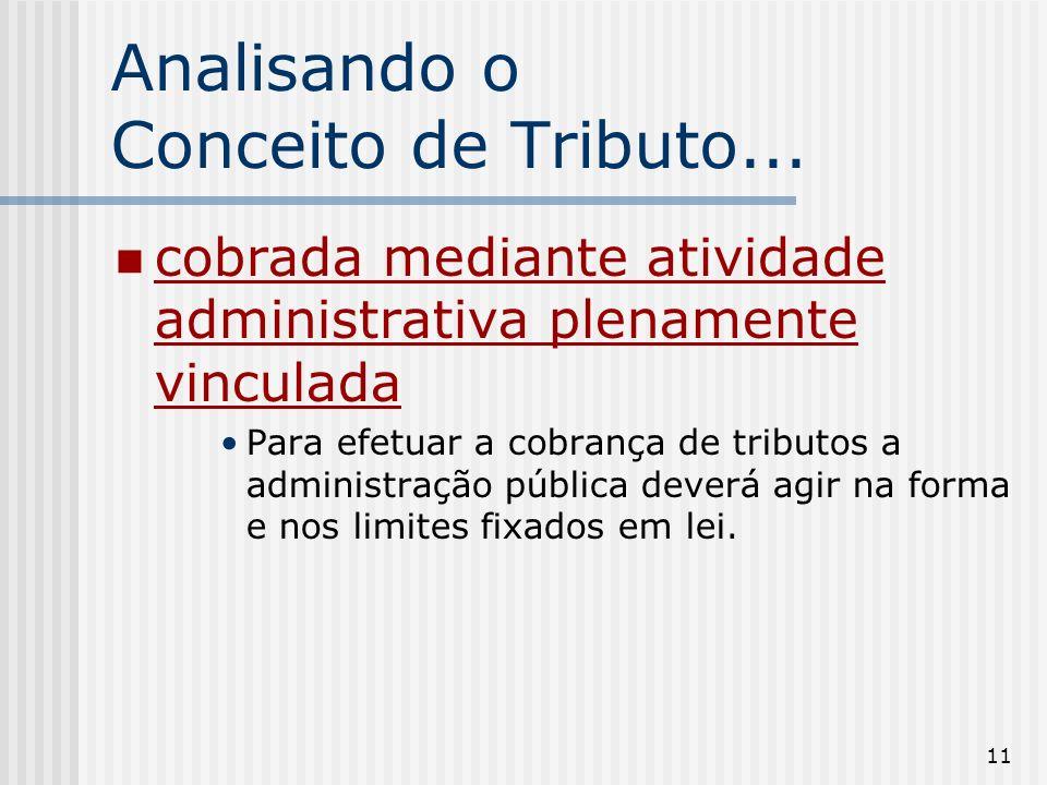 11 Analisando o Conceito de Tributo... cobrada mediante atividade administrativa plenamente vinculada Para efetuar a cobrança de tributos a administra