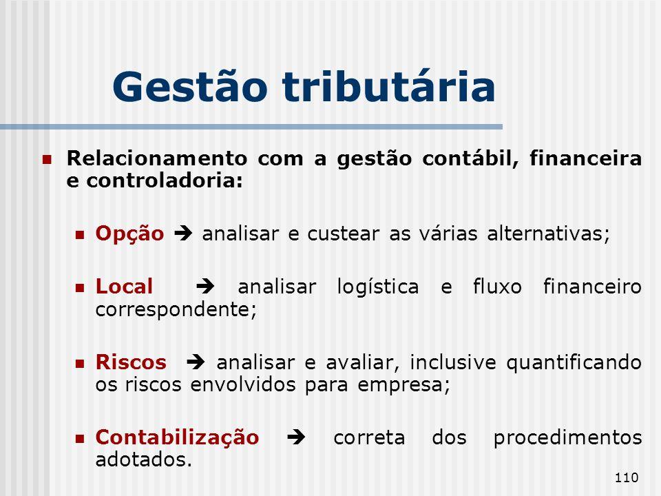 110 Relacionamento com a gestão contábil, financeira e controladoria: Opção analisar e custear as várias alternativas; Local analisar logística e flux