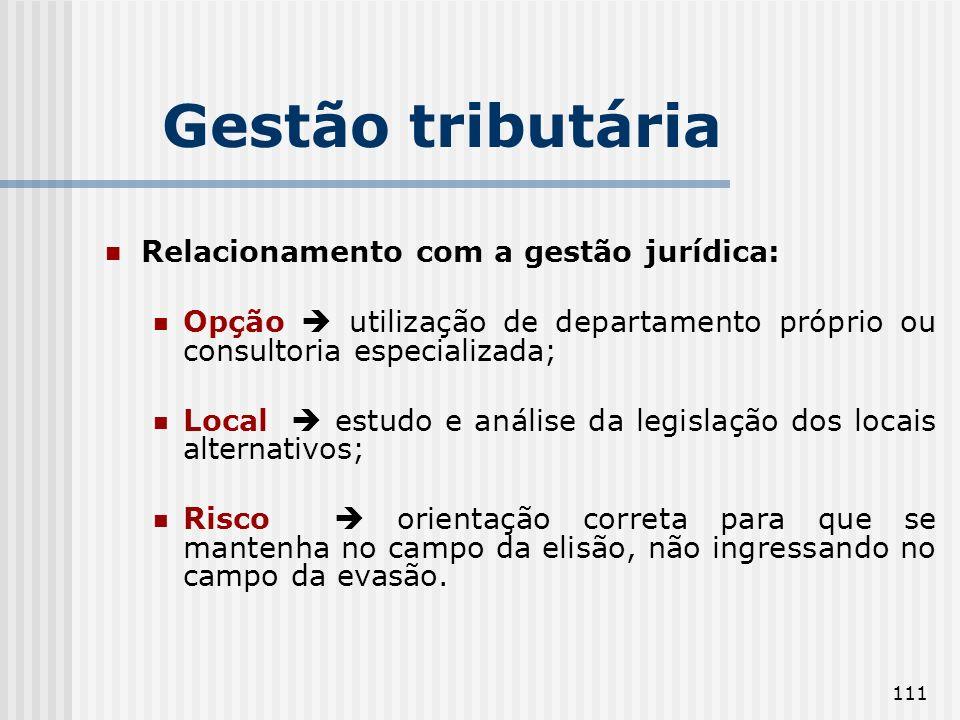 111 Relacionamento com a gestão jurídica: Opção utilização de departamento próprio ou consultoria especializada; Local estudo e análise da legislação