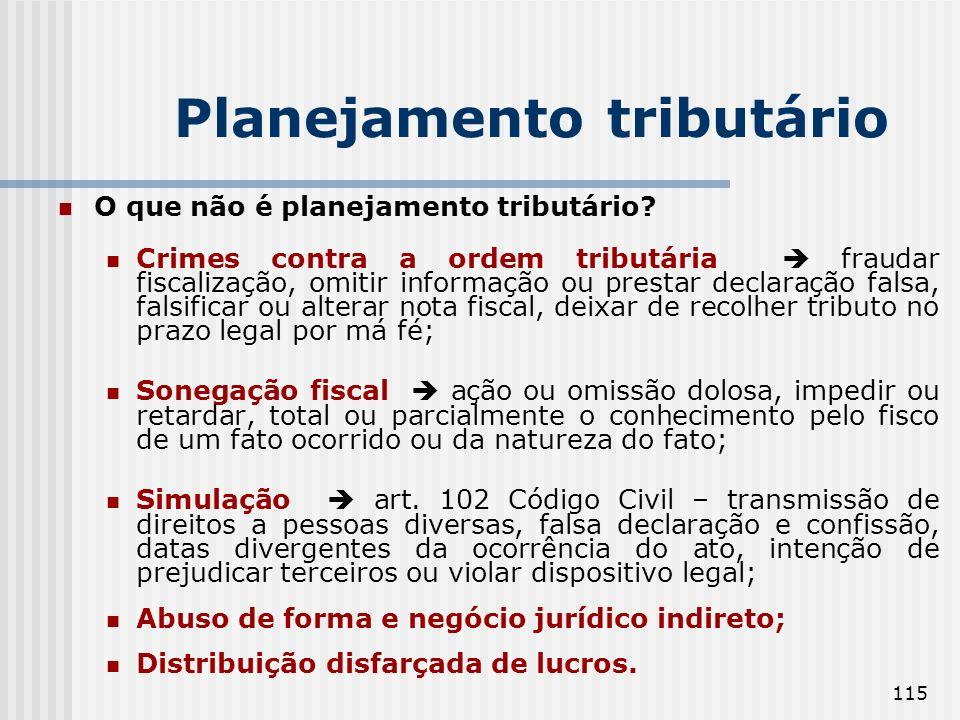115 Planejamento tributário O que não é planejamento tributário? Crimes contra a ordem tributária fraudar fiscalização, omitir informação ou prestar d