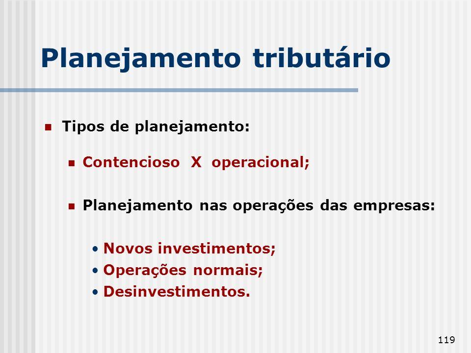 119 Tipos de planejamento: Contencioso X operacional; Planejamento nas operações das empresas: Novos investimentos; Operações normais; Desinvestimentos.